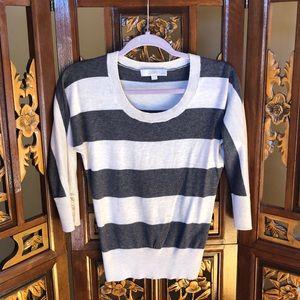 Loft Gray & White Striped Top Size XSP